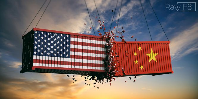 Shipping Containers usa china flag trade war sunset background